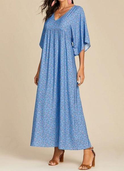 Blue Plus Size Color Block V-Neckline Casual Maxi Shift Dress Plus Dress_1
