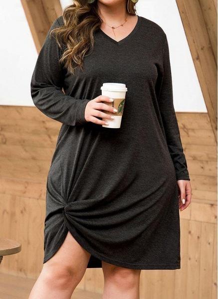 Black Plus Size Solid V-Neckline Casual Knee-Length X-line Dress Plus Dress_1