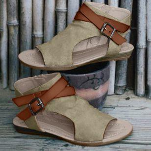 Women's Buckle Slingbacks Cloth Low Heel Sandals_2