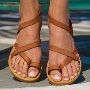 Women's Toe Ring Leatherette Flat Heel Sandals_2