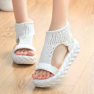 Women's Knit Slingbacks Fabric Flat Heel Sandals Platforms_5
