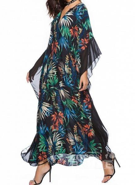 Black Plus Size Floral V-Neckline Casual Maxi Plus Dress_4