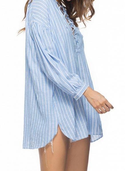 Blue Plus Size Tunic Stripe V-Neckline Casual Mini Plus Dress_1