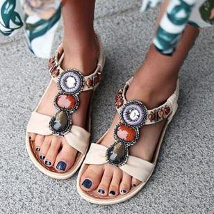 Women's Beading Round Toe Flat Heel Sandals_1