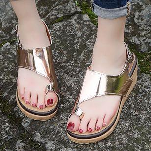 Women's Buckle Slingbacks Toe Ring Nubuck Wedge Heel Sandals_2