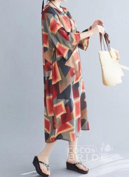 Multicolor Plus Size Tunic Color Block Round Neckline Casual Midi Plus Dress_3