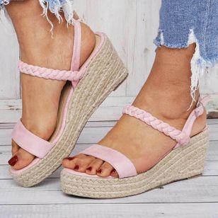 Women's Buckle Slingbacks Cloth Wedge Heel Sandals Platforms_4