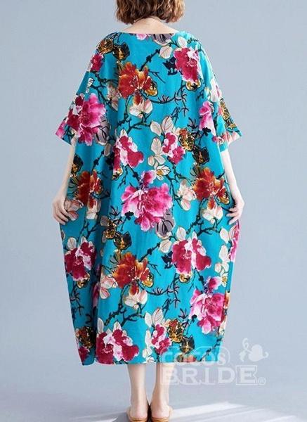 Blue Plus Size Tunic Floral Round Neckline Casual Midi Plus Dress_3