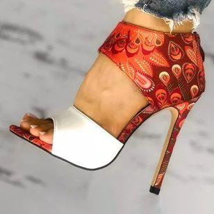 Women's Zipper Flower Heels Stiletto Heel Sandals_1