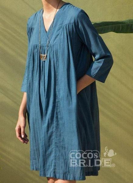 Orange Plus Size Tunic Solid V-Neckline Casual Above Knee Plus Dress_2