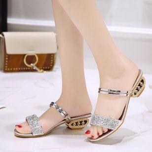 Women's Rhinestone Heels Chunky Heel Sandals_4