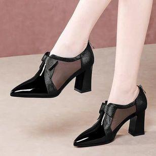 Women's Zipper Pointed Toe Heels Chunky Heel Sandals_2