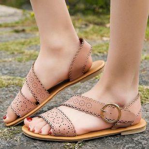 Women's Buckle Flats Slingbacks Flat Heel Sandals_2