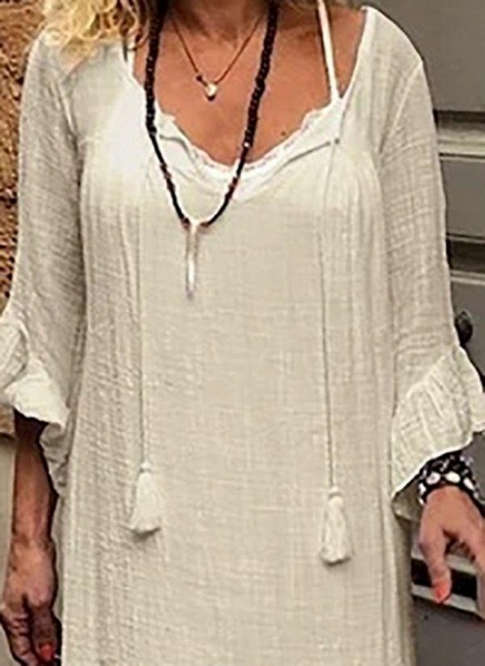 Off-white Plus Size Tunic Solid V-Neckline Casual Tassel Plus Dress_1