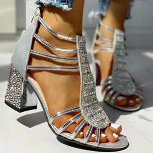 Women's Crystal Zipper Round Toe Chunky Heel Sandals_3