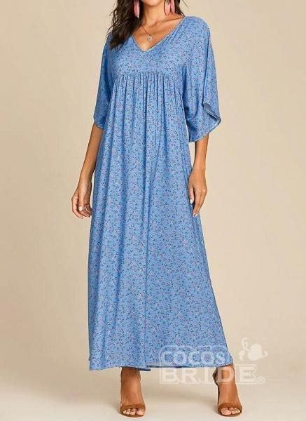 Blue Plus Size Color Block V-Neckline Casual Maxi Shift Dress Plus Dress_2