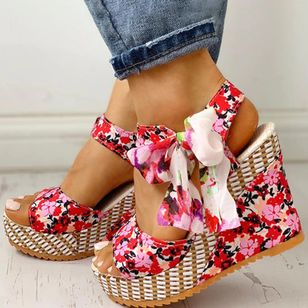 Women's Bowknot Lace-up Flower Slingbacks Cloth Wedge Heel Sandals_6