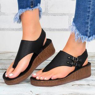 Women's Buckle Hollow-out Flip-Flops Wedge Heel Sandals Platforms_2