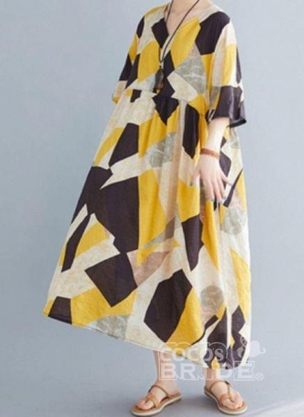 Yellow Plus Size Tunic Color Block V-Neckline Casual Midi Plus Dress_2