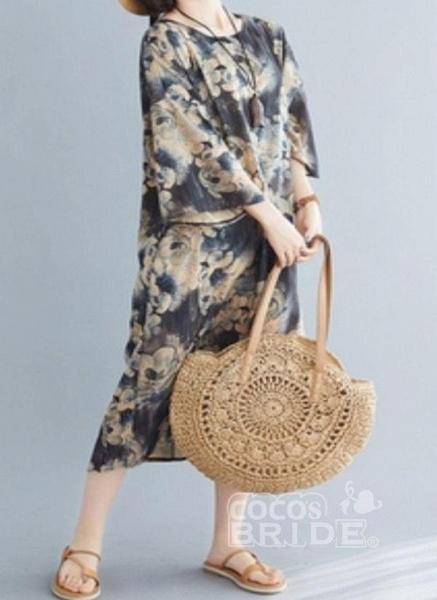 Dark Gray Plus Size Tunic Floral Round Neckline Casual Midi Plus Dress_3