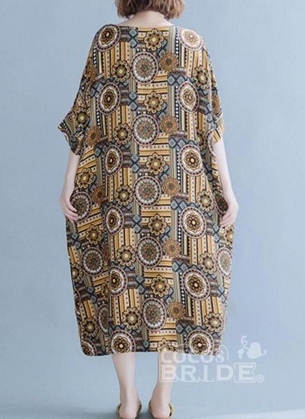 Khaki Plus Size Tunic Floral Round Neckline Casual Midi Plus Dress_5