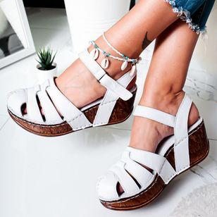Women's Buckle Round Toe Wedge Heel Sandals_1