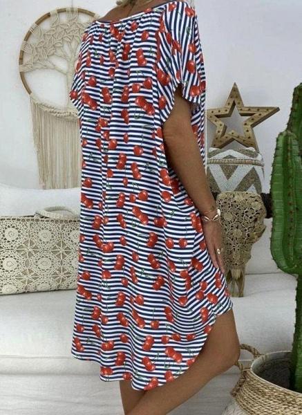 Red Plus Size Tunic Stripe V-Neckline Casual Knee-Length Plus Dress_2