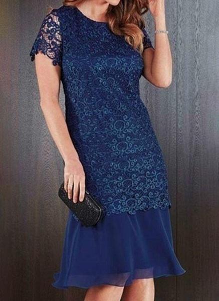 Pink Plus Size Pencil Solid Round Neckline Elegant Lace Plus Dress_2