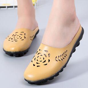 Women's Hollow-out Flower Closed Toe Slingbacks Flat Heel Sandals_8