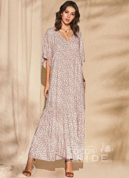 Pink Plus Size Color Block V-Neckline Casual Maxi Shift Dress Plus Dress_3
