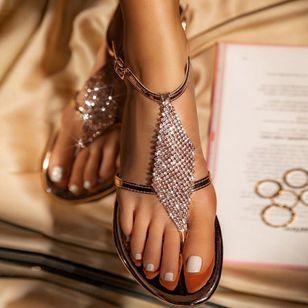 Women's Crystal Flip-Flops Flat Heel Sandals_7