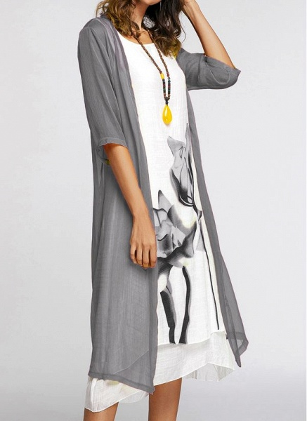 Floral Wrap Round Neckline Midi X-line Dress_7