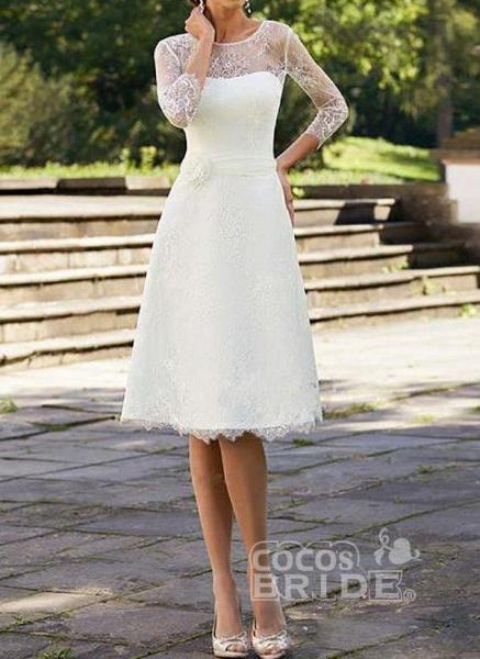 White Plus Size Skater Solid Round Neckline Elegant Lace Plus Dress_3