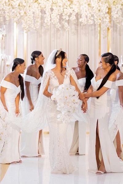 White Simple Off-the-shoulder V-neck Slit Bridesmaid Dresses_4