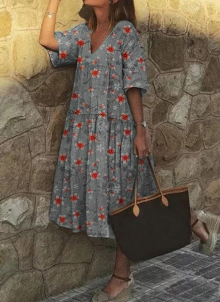 Casual Floral Tunic V-Neckline A-line Dress_5