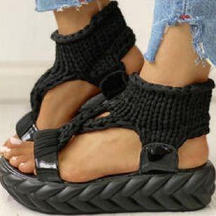 Women's Knit Slingbacks Fabric Flat Heel Sandals Platforms_3
