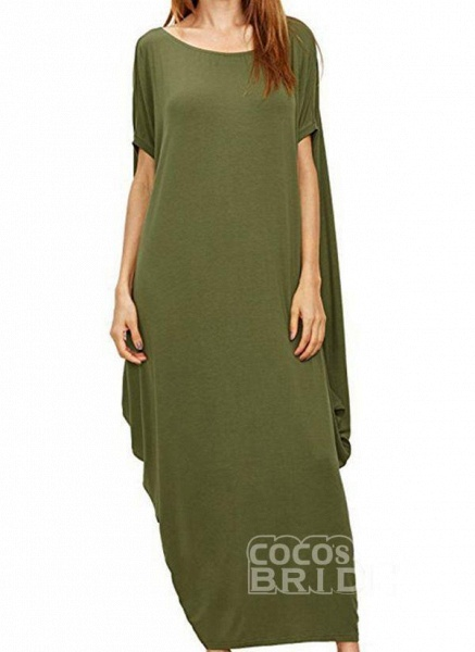 Black Plus Size Tunic Solid Round Neckline Casual Maxi Plus Dress_9