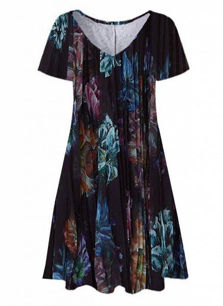 Black Plus Size Tunic Floral V-Neckline Casual Knee-Length Plus Dress_1