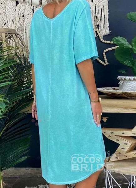 Blue Plus Size Tunic Solid V-Neckline Casual Pockets Plus Dress_2