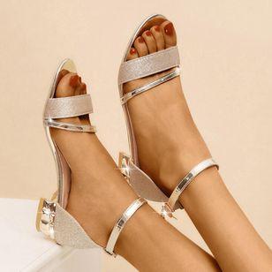 Women's Crystal Buckle Low Top Low Heel Sandals_5