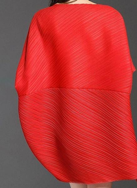 Dark Blue Plus Size Tunic Solid Round Neckline Elegant Above Knee Plus Dress_1