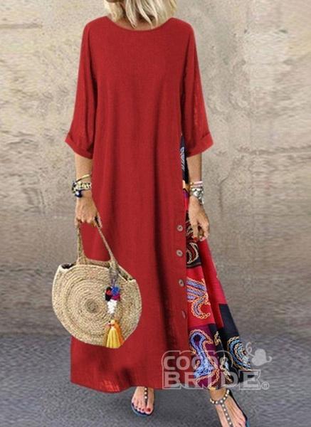 Yellow Plus Size Tunic Color Block Round Neckline Casual Buttons Plus Dress_2