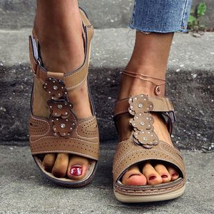 Women's Velcro Round Toe Nubuck Flat Heel Sandals_1