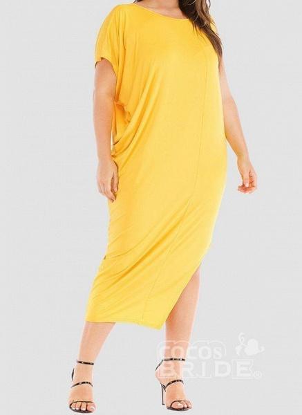 Khaki Plus Size Tunic Solid Round Neckline Casual Elegant Midi Plus Dress_6