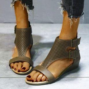 Women's Buckle Hollow-out Flats Flat Heel Sandals_5