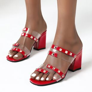 Women's Rivet Peep Toe Slingbacks Chunky Heel Sandals_2
