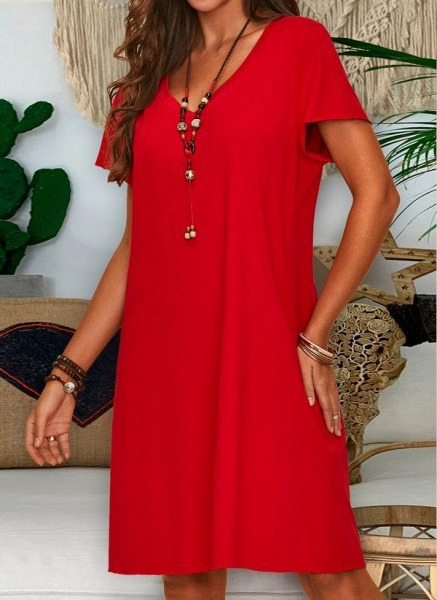 Red Plus Size Tunic Solid V-Neckline Casual Knee-Length Plus Dress_4