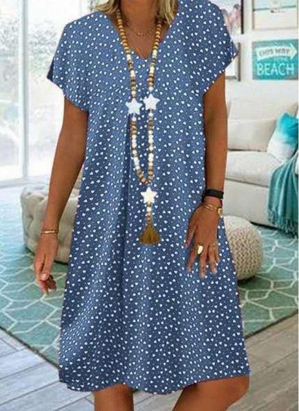 Purple Plus Size Tunic Geometric V-Neckline Casual Knee-Length Plus Dress_4