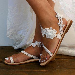 Women's Flower Toe Ring Lace Flat Heel Sandals_1