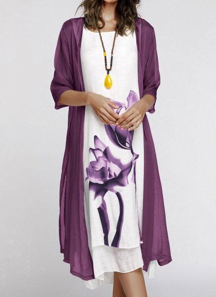 Floral Wrap Round Neckline Midi X-line Dress_10